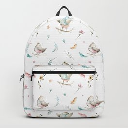 Hand painted pink teal watercolor bohemian bird floral pattern Backpack