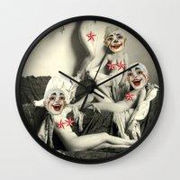 nudes Wall Clocks featuring RECLINING NUDE CLOWNS (censored) by Julia Lillard Art