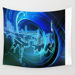Blaue Stadt - Blue City Wall Tapestry