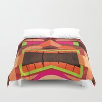 tiki Duvet Covers featuring Tiki by Cimone Key