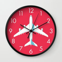 A380 Super Jumbo Jet Airliner - Crimson Wall Clock