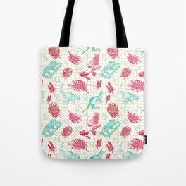 Beautiful Australian Animals and Flowers on Gold Polka Dots Tote Bag