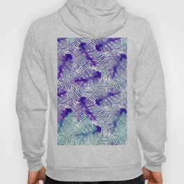 Tropical purple violet teal watercolor monster leaves Hoody