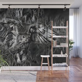 Flying Owl On Gray Black Background Wall Mural