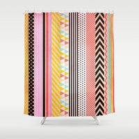 tape Shower Curtains featuring Washi Tape by Louise Machado