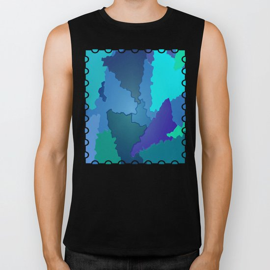Blues and Greens Puzzle Patchwork Biker Tank