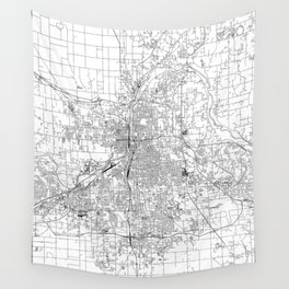 Grand Rapids White Map Wall Tapestry