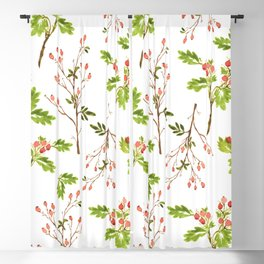 Red Berries Pattern Blackout Curtain