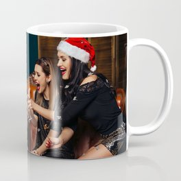 Desktop Wallpapers Christmas happy female Champagn Coffee Mug