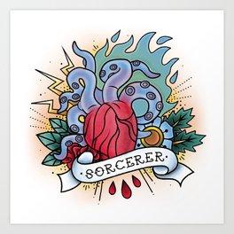 Sorcerer - Vintage D&D Tattoos Art Print