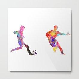 Mens Football Man Dribbling Ball While Man Attemps Metal Print