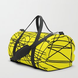 Yellow with black scribbling lines, less is more Duffle Bag