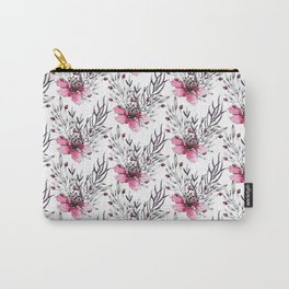 Watercolor neon pink gray hand painted floral pattern Carry-All Pouch