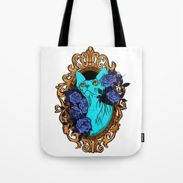 Neon Blue Hairless Sphynx Cat with Mystique Blue Roses and Golden Frame - Pet Portrait Line Tattoo Tote Bag