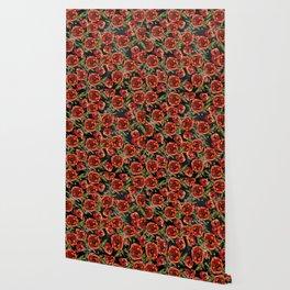 Poppy Pattern On Chalkboard Wallpaper