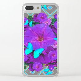 Shimmering Blue Butterflies  Purple Floral Art Clear iPhone Case