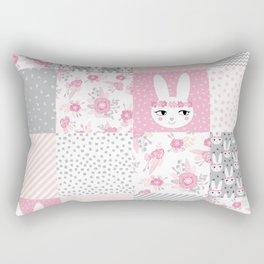 Bunny quilt baby decor newborn nursery charlotte winter pink grey decor for little girl Rectangular Pillow
