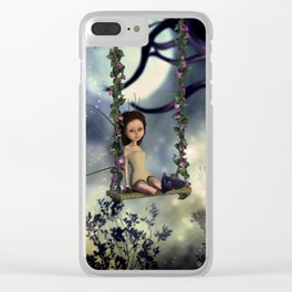 Cute little fairy with kitten on a swing Clear iPhone Case