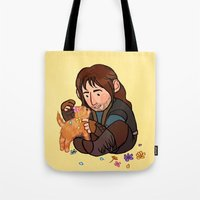 kili Tote Bags featuring Kili and Kitten by Hattie Hedgehog