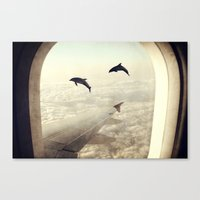 dolphins Canvas Prints featuring Dolphins by Paula Belle Flores