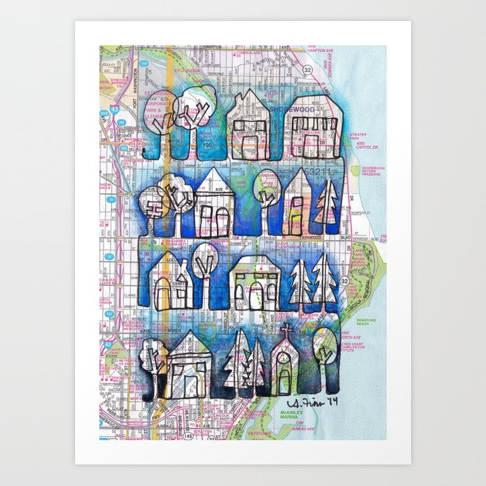 Milwaukee WI Ombre Neighborhoods Continuous Line Drawing On Vintage - Vintage milwaukee map