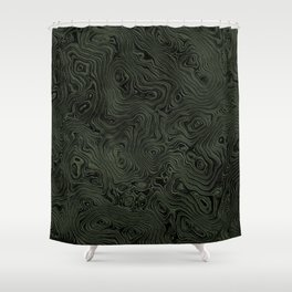 Green Silk Moire Pattern Shower Curtain