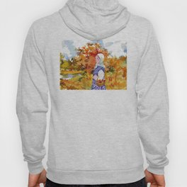 Heading to the Forest for Mushroom-Picking. Autumn Landscape. Girl's Portrait Hoody