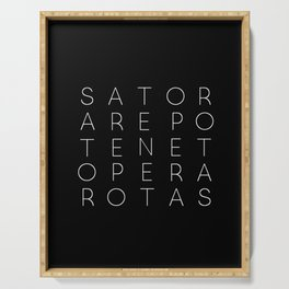 Sator Square Modern Witch Typorgraphy - on black Serving Tray