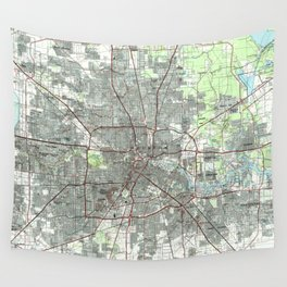 Houston Texas Map (1992) Wall Tapestry