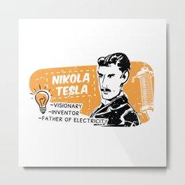 Nikola Tesla Retro Scientist Metal Print