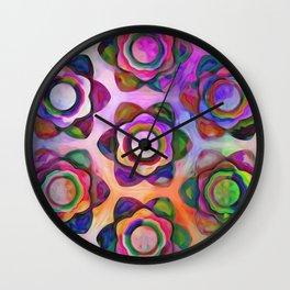 Rainbow Chunky Flowers Wall Clock
