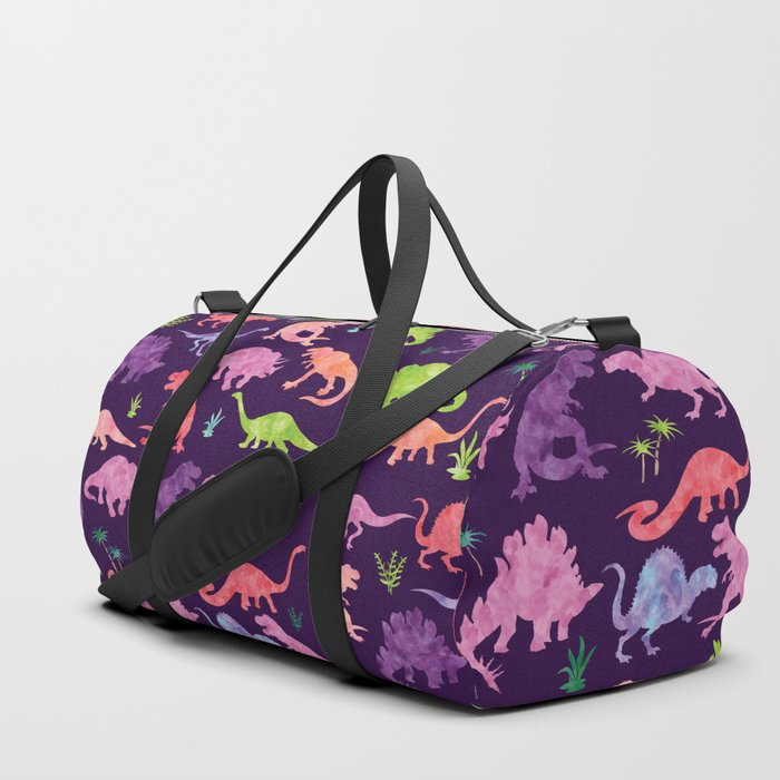 Purple_Pink_Watercolor_Dinosaur_Silhouette_Pattern_Duffle_Bag_by_Sam_Ann_Designs__SMALL__19_x_95