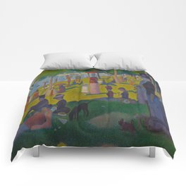 A Sunday Afternoon on the Island of La Grande Jatte Painting by Georges Seurat Pointillism Comforters