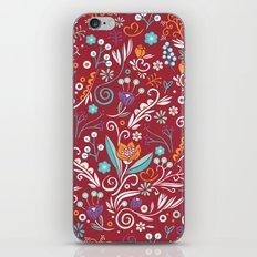 Flower circle pattern, red iPhone & iPod Skin