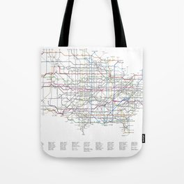 U.S. Numbered Highways as a Subway Map Tote Bag
