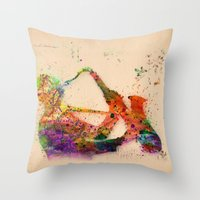 saxophone Throw Pillows featuring music saxophone by mark ashkenazi