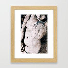 Rotten Apple: Turquoise (nude topless girl, erotic graffiti portrait) Framed Art Print