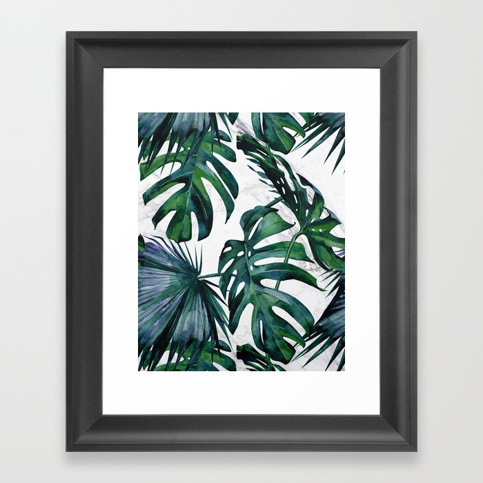 Tropical Palm Leaves Classic on Marble Framed Art Print