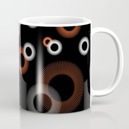 Orange White Starburst Pattern Black Coffee Mug