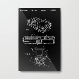 Nintendo Gameboy Patent - White on Black Metal Print