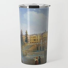 View of the Big Cascade in Petergof and the Great Palace of Petergof by Ivan Aivazovsk Travel Mug