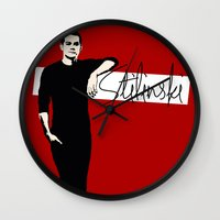 stiles stilinski Wall Clocks featuring Team Human: Stilinski  by Keyweegirlie