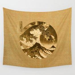 Great Wave Off Kanagawa Sepia Wall Tapestry