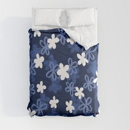 Blue and White Floral pattern Comforters