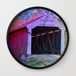 McAllister's Covered Bridge ~ Rockville, Indiana Wall Clock