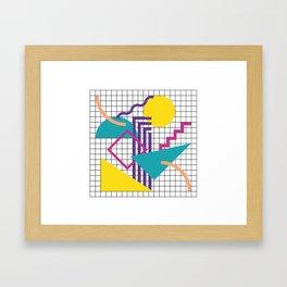 Memphis Pattern - 80s Retro White Framed Art Print
