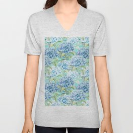Blue floral hydrangea flower flowers Vintage watercolor pattern Unisex V-Neck