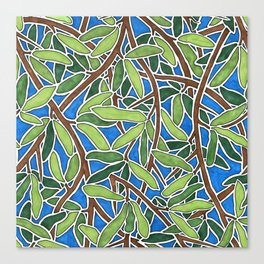 Leaves and Branches in Weaving Tangle Canvas Print