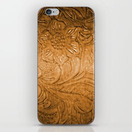 Golden Tan Tooled Leather iPhone Skin