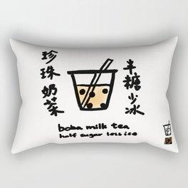 Boba Milk Tea Half Sugar Less Ice Rectangular Pillow